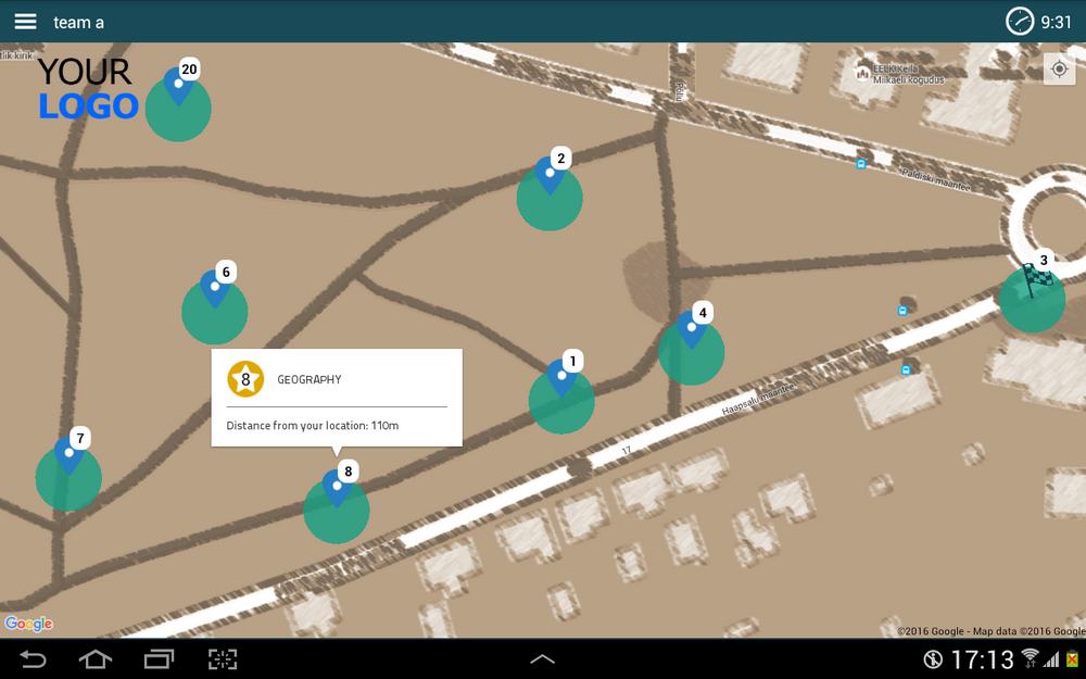 treasure map on smart device