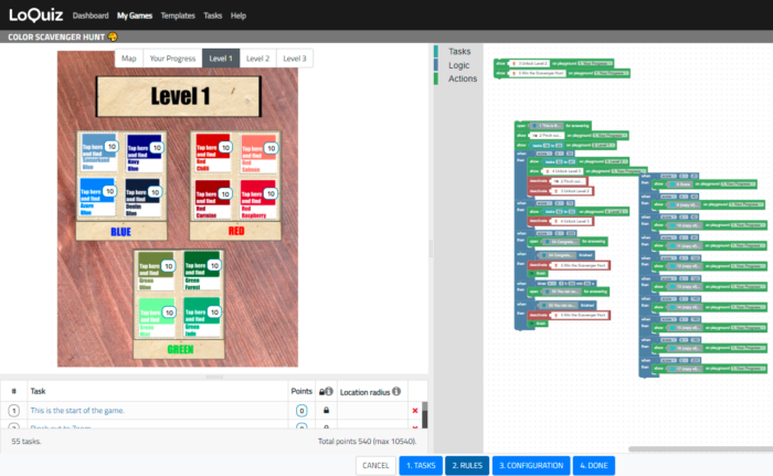 Loquiz Creator, where I created my Color Scavenger Hunt