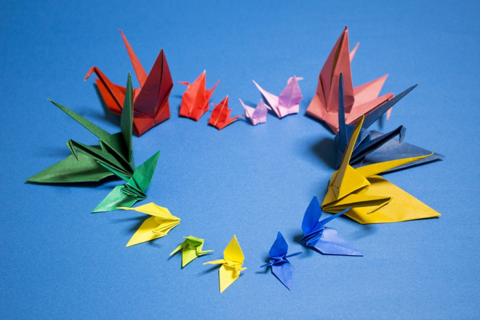 Photo of many origamis shaped as a heart